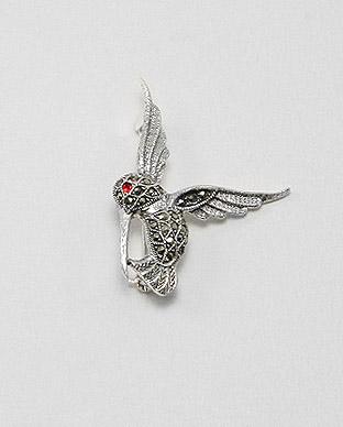 broasa-argint-marcasite-pasarea-colibri