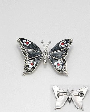 brosa-argint-email-fluture-M