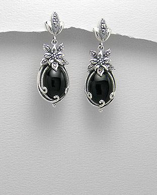 cercei-argint-flori-pietre-negre